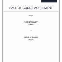 sale of goods agreement template